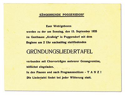 Einladung zur Gründungsliedertafel 1935