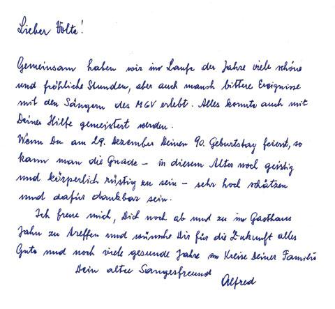 Gratulation Alfred - 90. Geburtstag - Valentin Schnögl